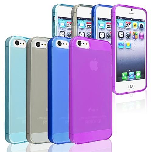 INSTEN Clear Frost Smoke+Dark+Light Blue+Purple TPU Gel Rubber Case For Apple iPhone 5S 5