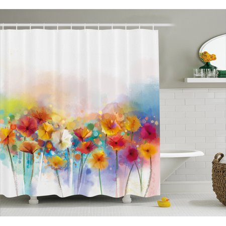 Flower Shower Curtain Gerbera Bouquet Textured In An Artisan Expression Inflorescence Morph New Paint Fabric Bathroom Set With Hooks Red Orange