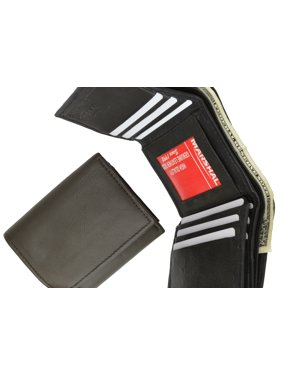 Trifold Genuine Leather Mens Wallet Flap ID Card Case 1107 (C) Brown
