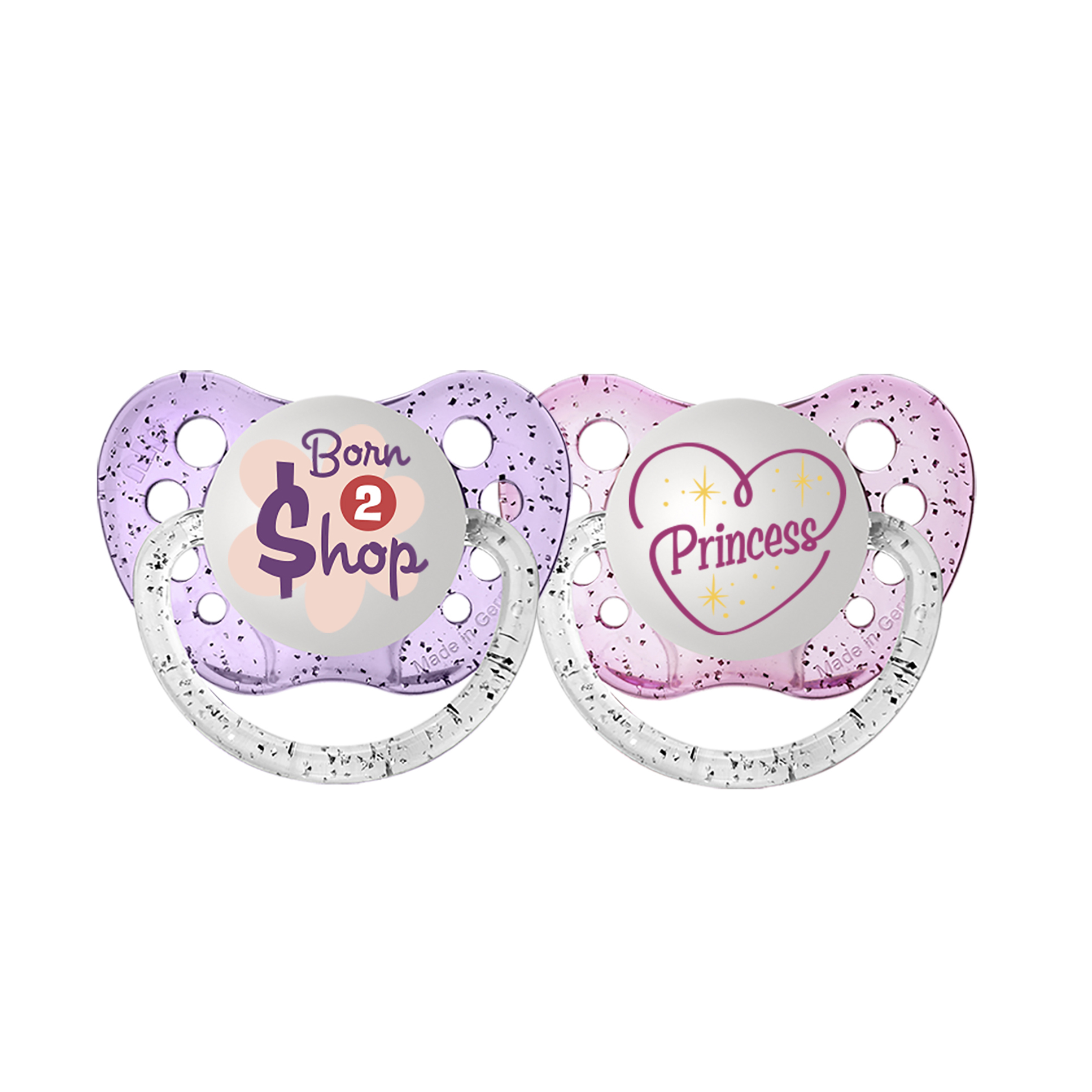Ulubulu Princess/Born To Shop Pacifiers, 0-6 Months, 2-Pack