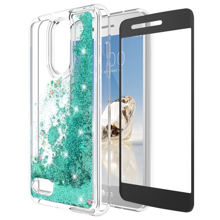 LG K20 Plus Case, LG K20 V Case, LG Harmony Case, LG Grace 4G LTE Case With Tempered Glass Screen Protector, KAESAR Quicksand Glitter Liquid Shiny TPU Protective Cover for LG K20 (Teal) (Liquid Screen)