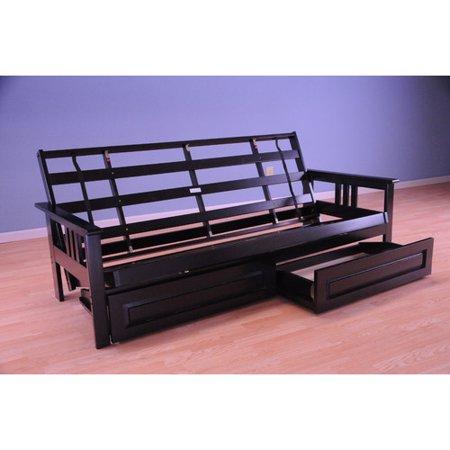 Monterey Futon Sofa In Black Finish With Storage Drawers