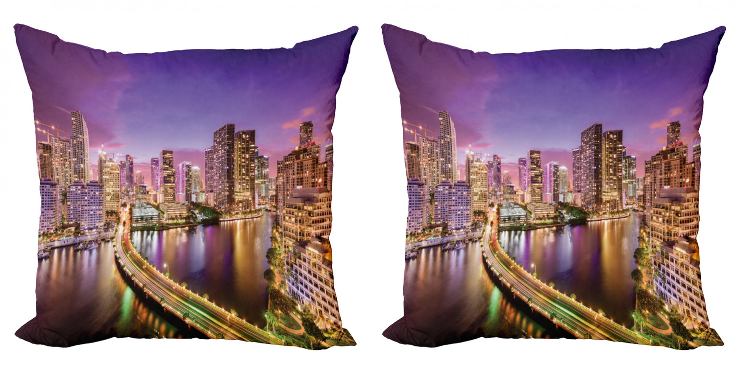 City Throw Pillow Cushion Cover Pack Of 2 Real Life Image Of Miami Florida At Night Downtown Tourism Spots Discovering The World Zippered Double Side Digital Print 4 Sizes Multicolor By Ambesonne