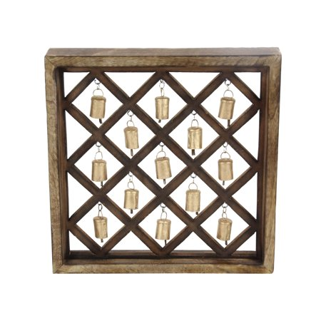 Decmode Eclectic Criss Cross-Patterned 17 X 17 Inch Wooden Wall Plaque With Metal (Richelieu Eclectic Metal)