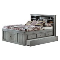 American Furniture Classics Solid Pine Full Captains Bookcase Bed with Twin Trundle and 3 drawers in Charcoal