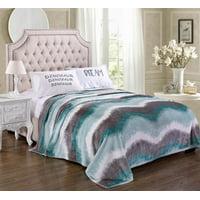 "Lush Elegance King Size Extra Soft Modern Art Microplush Blanket (102"" x 86"") - Ombre Waves"