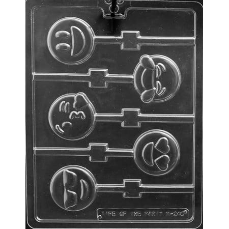 Emoji Lollipop Chocolate Mold - M248 - Includes Melting & Chocolate Molding Instructions - Lollipop Lips Emoji