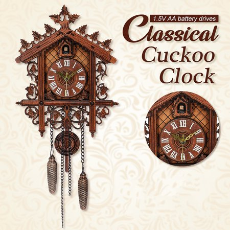 New Vintage Cuckoo Clock Forest Swing Wall Alarm Clock Modern Art Home Decor Valentines Gift Brown 17.3*7.3*2.2 MDF