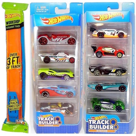 Hot Wheels Fun Track Builder car 10-Pack + Straight Race Track Pieces 3ft Car Bundle