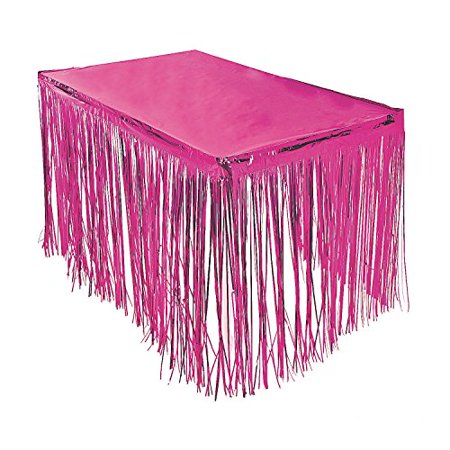 Pink Fringe Table Skirt 9 ft. x 29