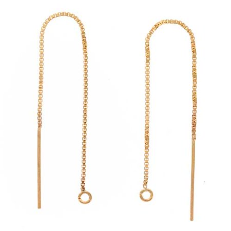 14K Gold Filled Ear Threads Threaders 3 1/4 In. Box Chain w/ Loop