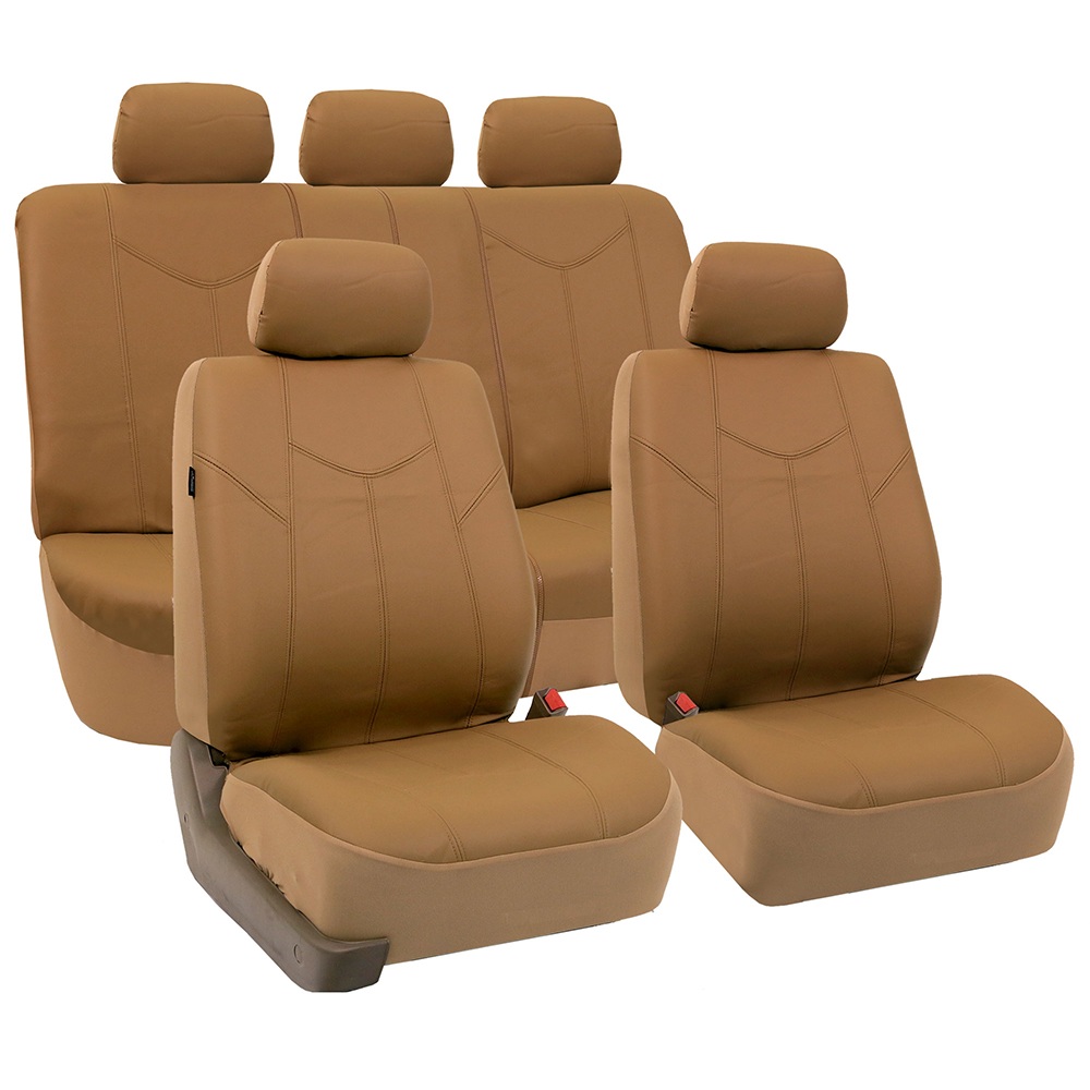 FH Group Tan Rome Faux Leather Airbag Compatible and Split Bench Car Seat Covers, Full Set