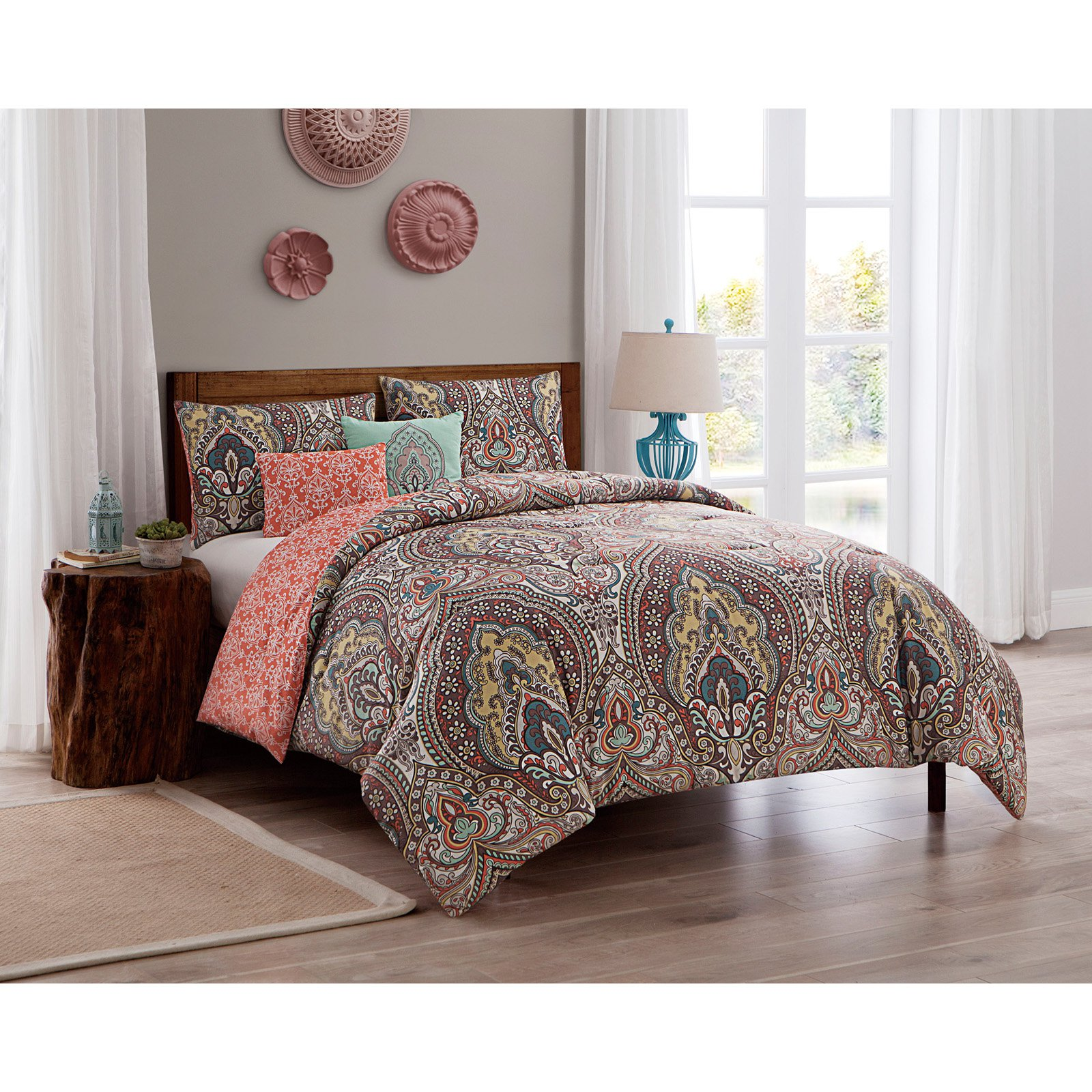 VCNY Home Palaci Damask Printed 4/5 Piece Bedding Comforter Set, Shams and Decorative Pillow Included