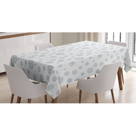 Winter Tablecloth, Pattern with Ornate Snowflake Motifs and Dots Retro Christmas Inspired Repetitive, Rectangular Table Cover for Dining Room Kitchen, 52 X 70 Inches, Grey White, by Ambesonne