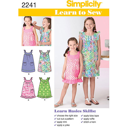 Simplicity Pattern Girl's Dresses, (7, 8 10, 12, 14)