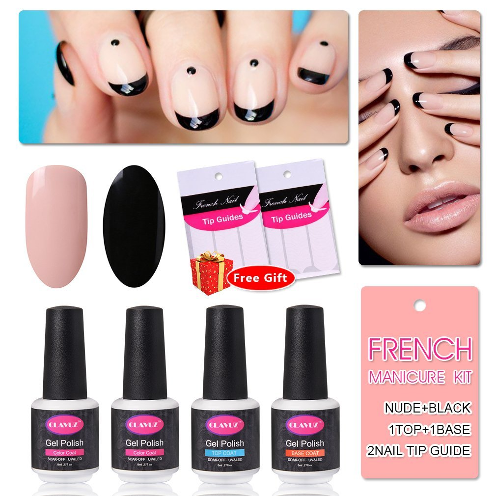 French Manicure Nail Gel Polish Top and Base Coat Nude Black DIY Nail Art at Home Free Nail Sticker by CLAVUZ