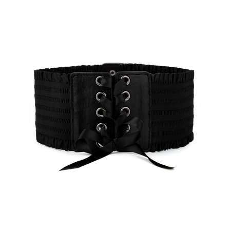 Female Wide Elastic Stretchy Waist Belt Button Lace Up Belt Dress Decoration for Women](Female Movie Characters To Dress Up As)