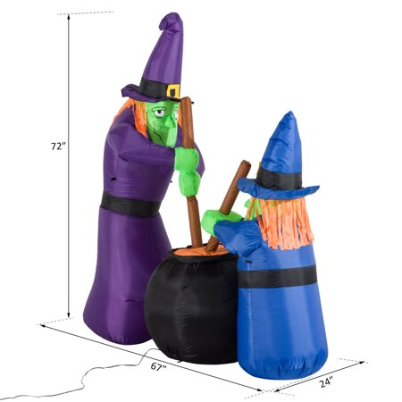 HOMCOM 6' Tall Outdoor Lighted Airblown Inflatable Halloween Decoration - Witches Around A Black Cauldron