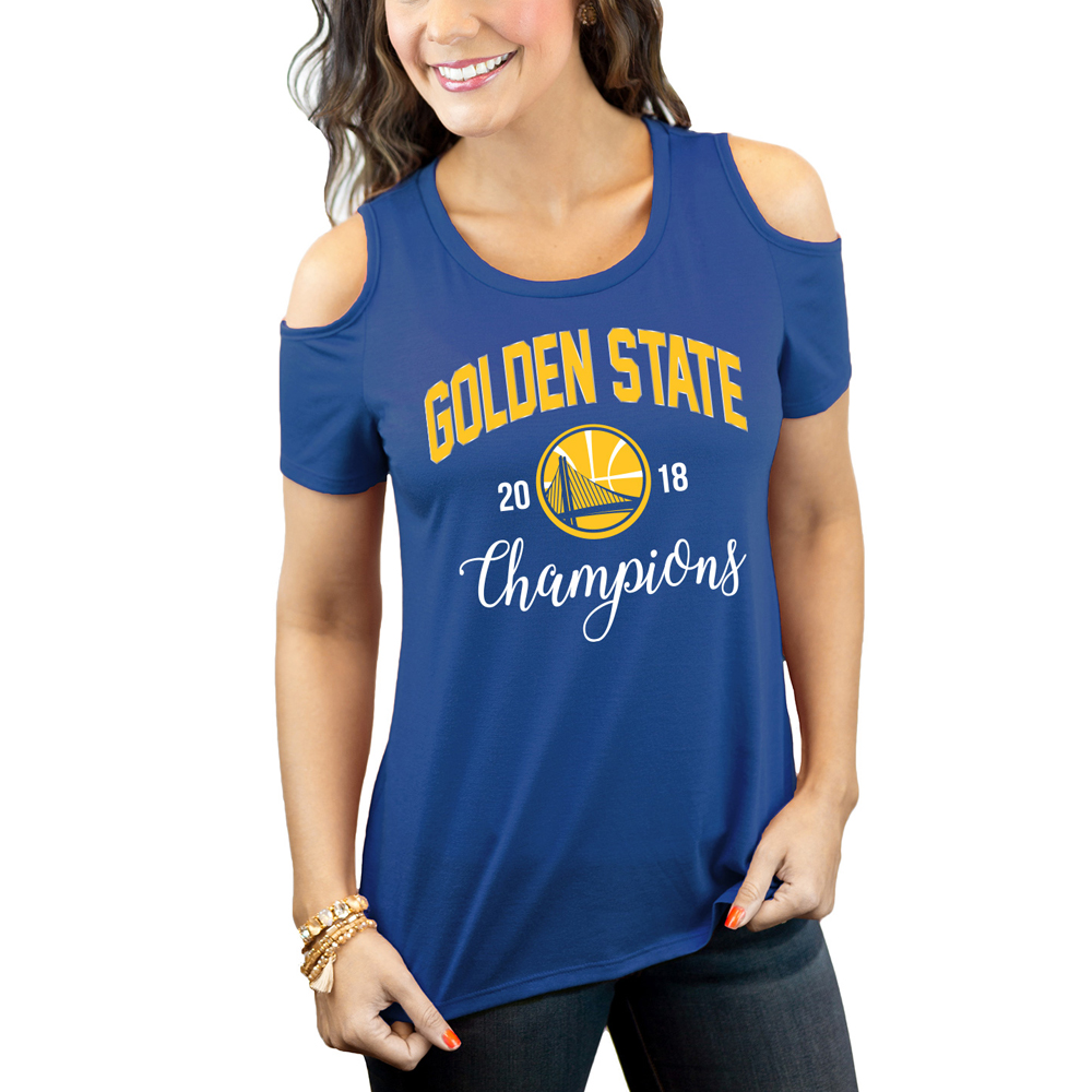 Golden State Warriors Women's 2018 NBA Finals Champions Cold Shoulder Flowy T-Shirt - Royal - S
