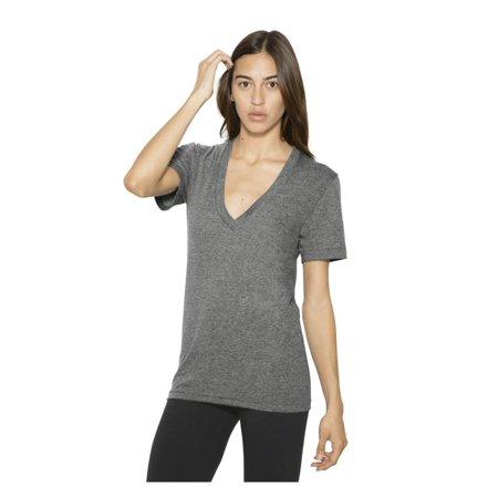 American Apparel T-Shirts Unisex Tri-Blend S/S Deep V-Neck T-Shirt TR456W Unisex V-neck Top