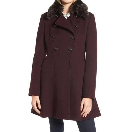 Via Spiga Leather Coat - Via Spiga Women's Faux Fur Double Breast Coat Wool