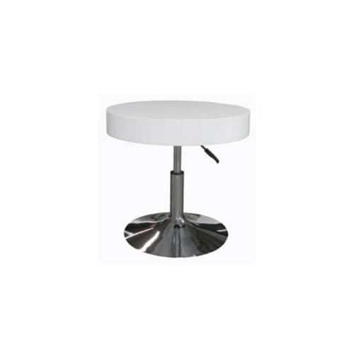 Whiteline ST1084-WHT Mia Side Table White Top Adjustable Height Chrome Base