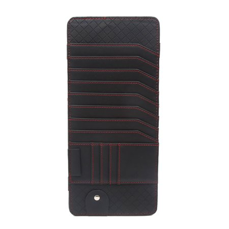 Black Faux Leather Car Sun Visor CD DVD Storage Sunglass Card Holder (Sunglass Holder For Car Visor)