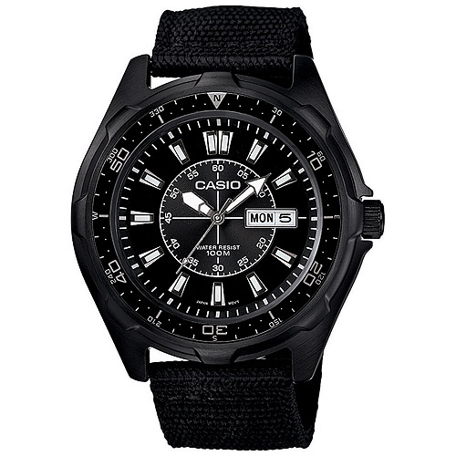 Casio Men's Dive Style Stainless Steel Watch, Black Nylon Strap
