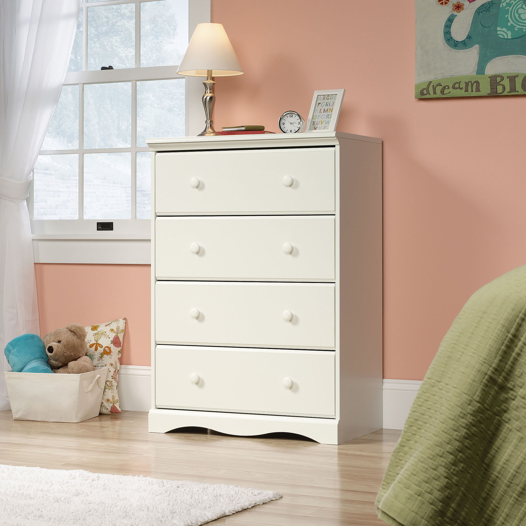 Sauder Pogo 4 Drawer Chest in Soft White by Sauder