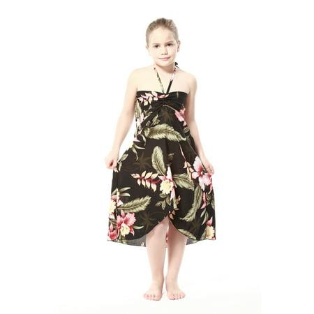 Girl Hawaiian Butterfly Dress in Black Rafelsia Size 2 ()