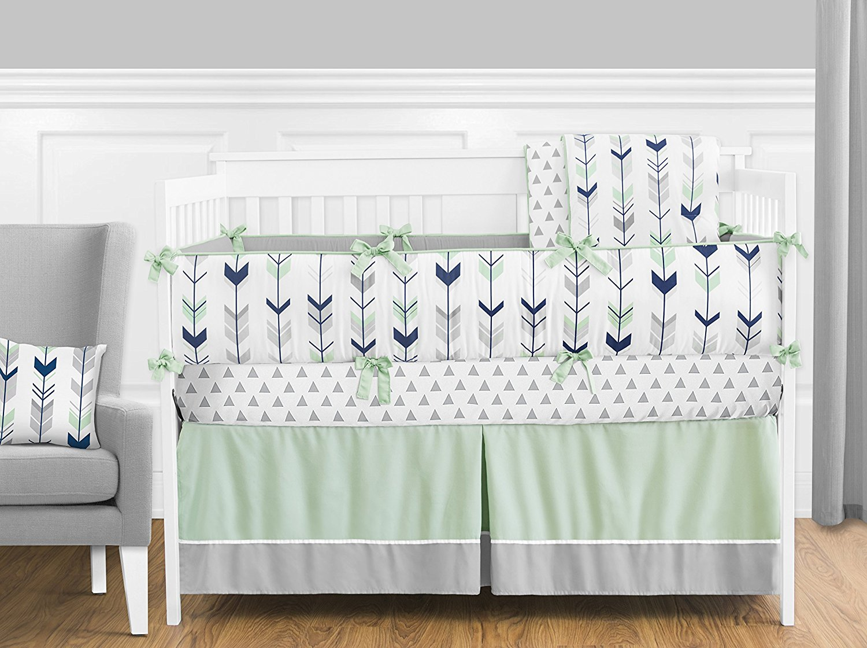 Grey Navy Blue And Mint Woodland Arrow 9 Piece Crib Bed Bedding Set
