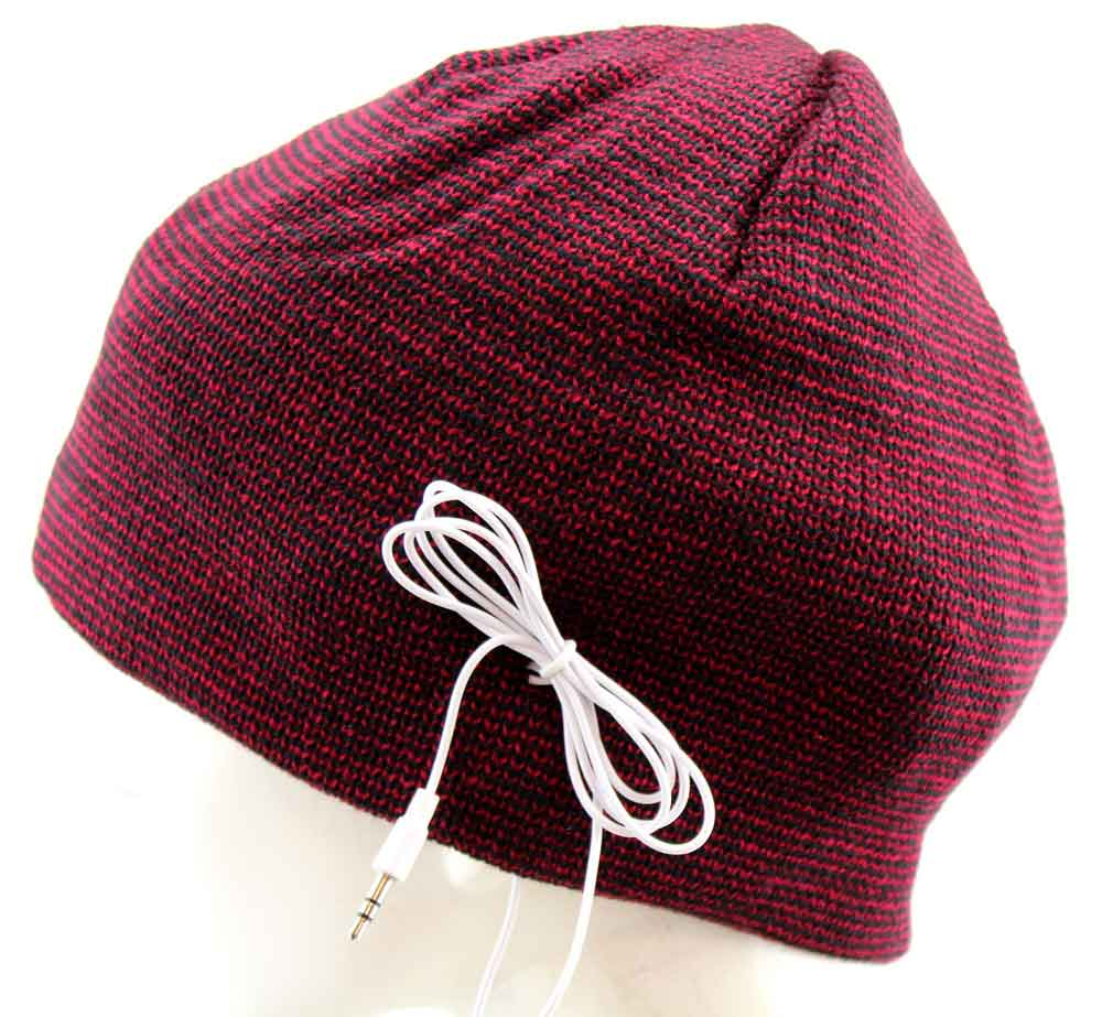Urban Pipeline Beanie Knit Winter Hat with Headphones Striped Red-Black