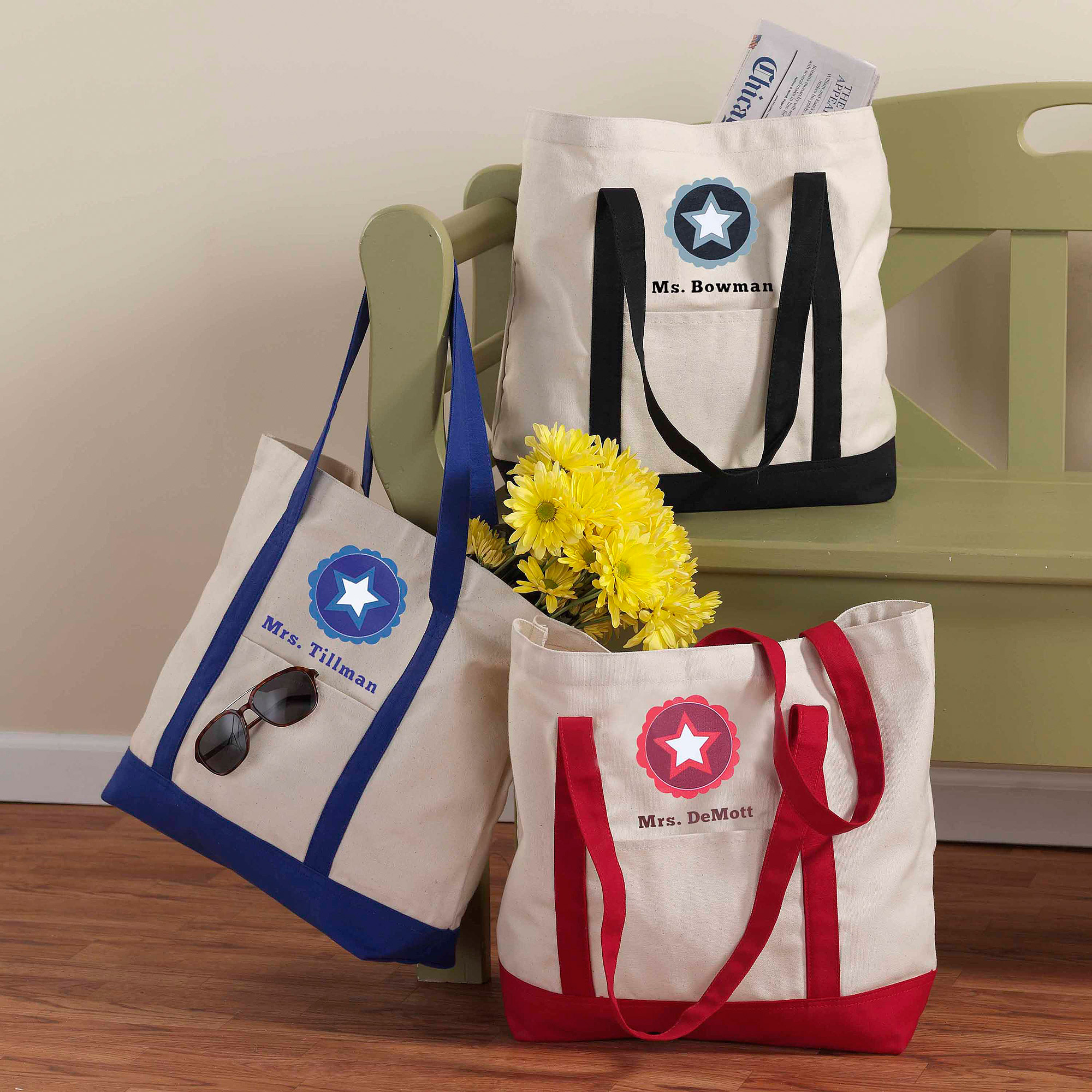 Personalized Teacher Star Tote Bag
