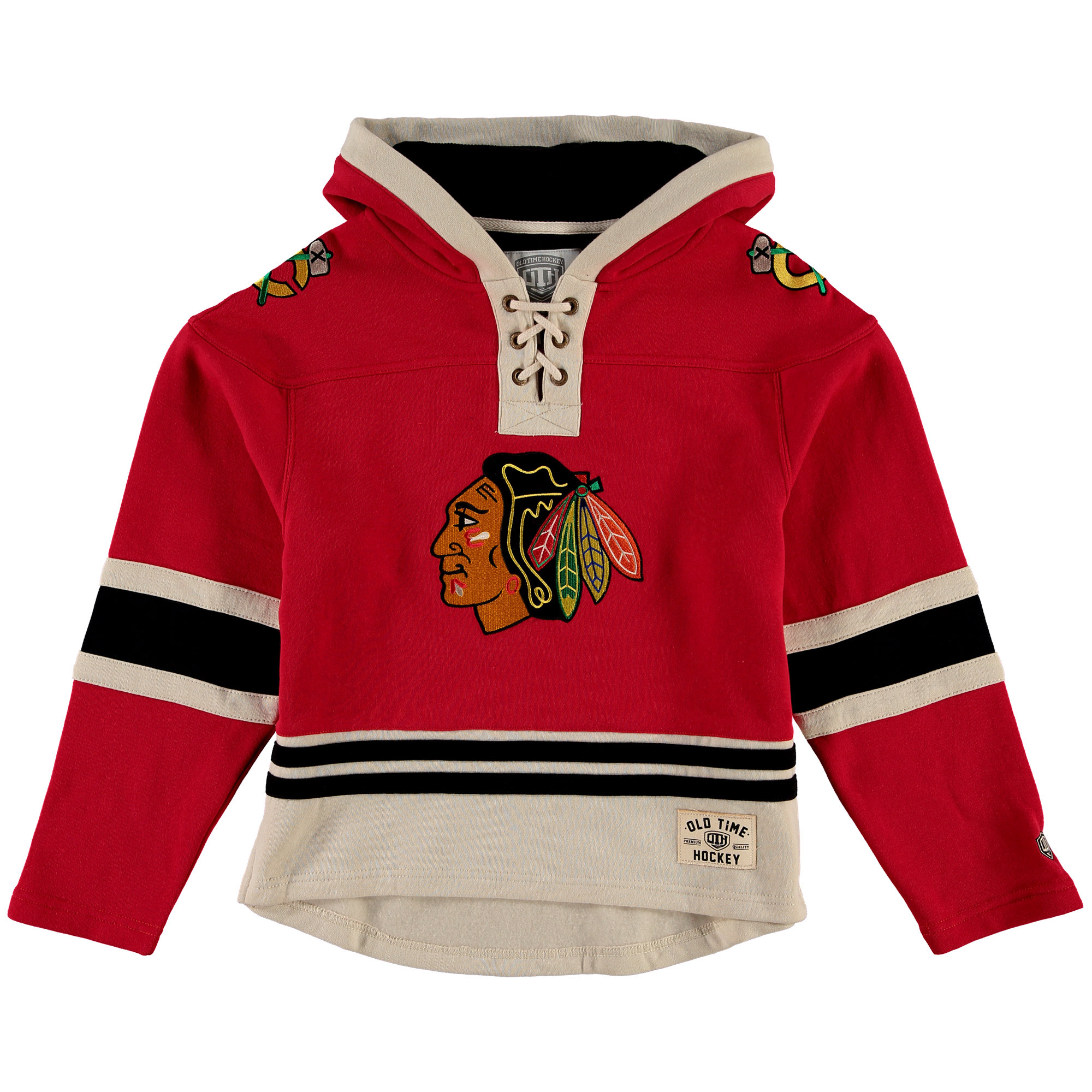 Chicago Blackhawks Old Time Hockey Youth Current Lacer Heavyweight Hoodie Red by Old Time Hockey