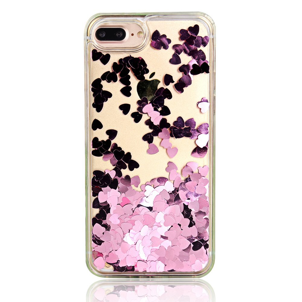 "For iPhone 6 4.7"" iPhone 6s 4.7"" Floating Rose Gold Hearts Liquid Waterfall Bling Glitter Case"