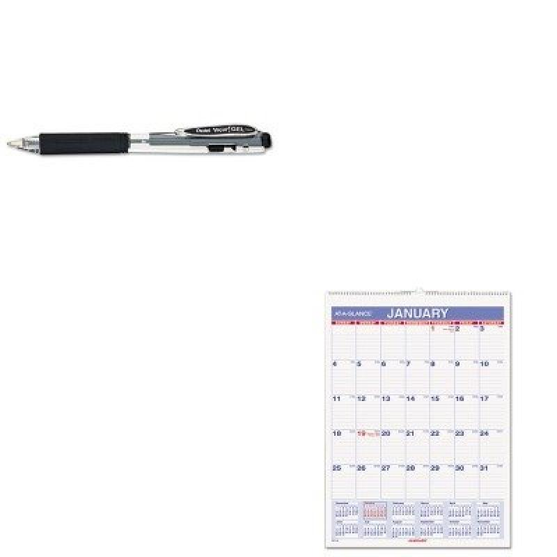 KITAAGPM128PENK437A - Value Kit - At-a-Glance Recycled Monthly Wall Calendar (AAGPM128) and Pentel WOW Retractable Gel Pen (PENK437A)