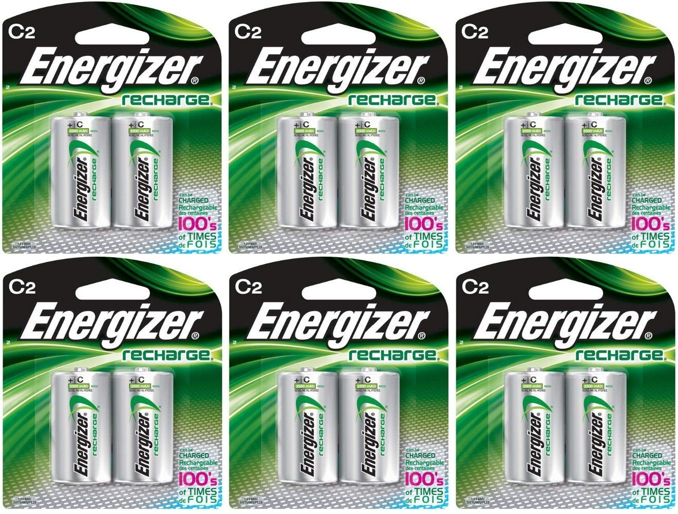 6 Energizer Rechargeable C Nimh Batteries 2 Pack by