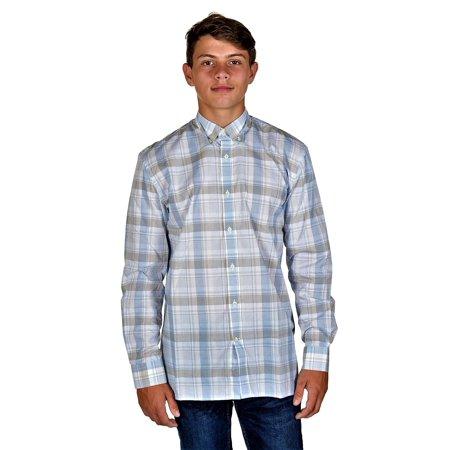 Hickey Freeman Mens Long Sleeve Button Down Shirt  Medium, Light Blue