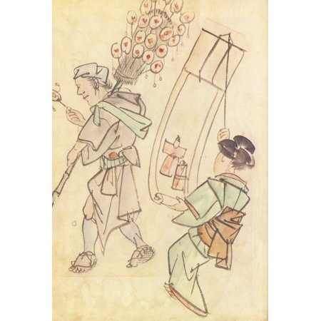 Framed Art for Your Wall Chinnen - Toy salesman and a young girl with a scroll painting the doll festival, sketch 10 x 13 Frame (Stitch Scroll)