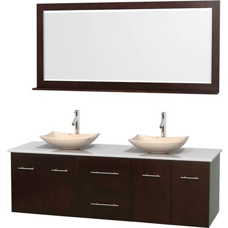 Wyndham collection centra 72 double bathroom vanity espresso white man made stone countertop for Man made bathroom countertops