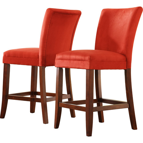 Parson Tufted Vinyl Stools Set Of 2 Cherry Walmart Com