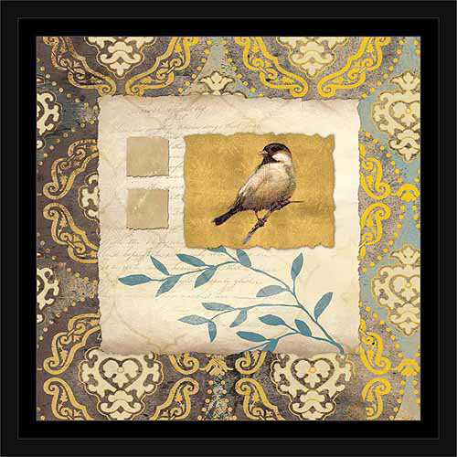 Vintage Collage Bird Paper with Medallion Pattern Painting Grey & Yellow, Framed Canvas Art by Pied Piper Creative
