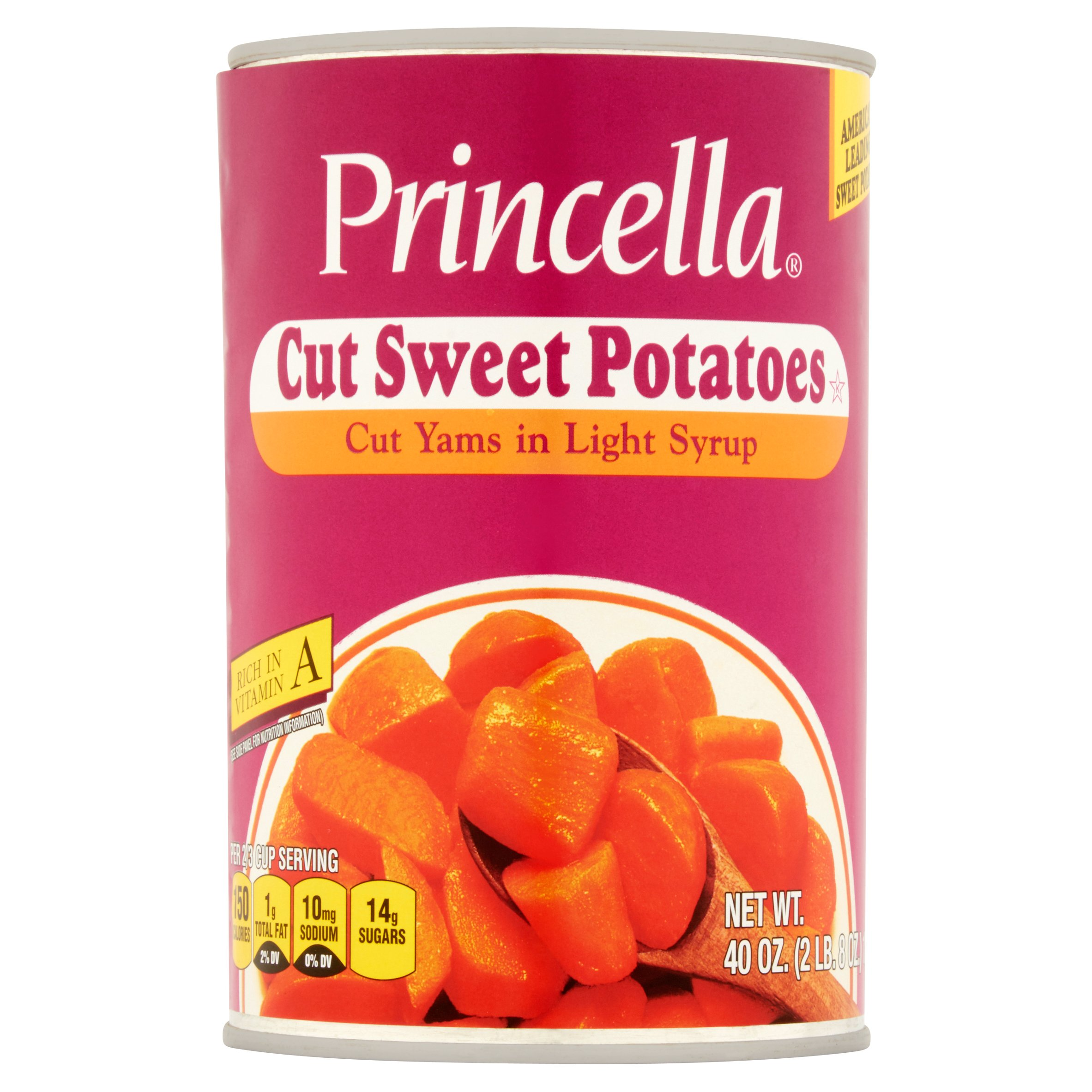 Princella Cut Sweet Potatoes Cut Yams In Light Syrup, 40 Oz