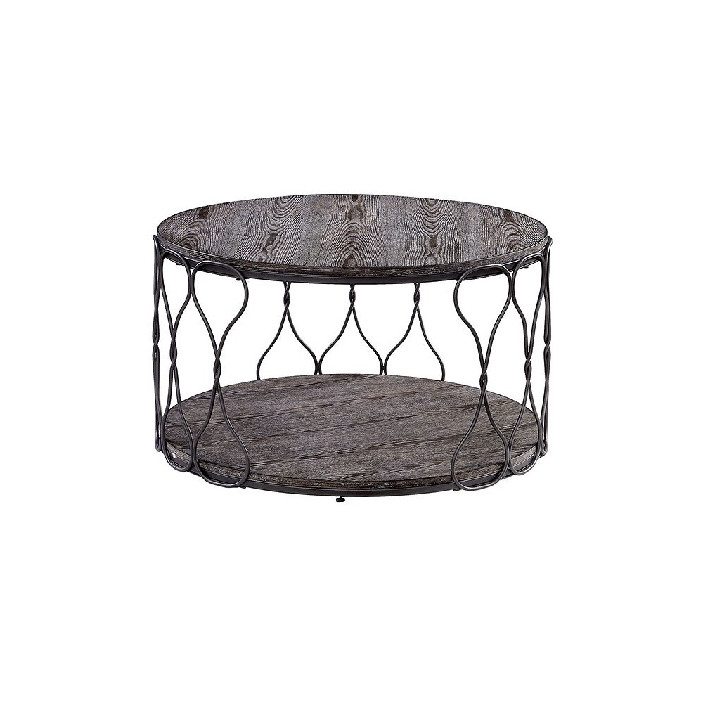 - Round Metal And Solid Wood Coffee Table With Open Shelf, Gray