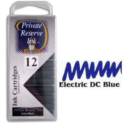 Private Reserve Ink 12 Pack Universal Size Fountain Pen Cartridge - Electric DC Blue
