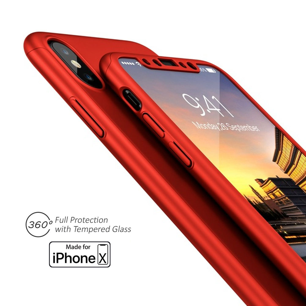 Indigi Red 360 Full Protective Case Hard PC Cover w/ Tempered Glass Screen For iPhone X
