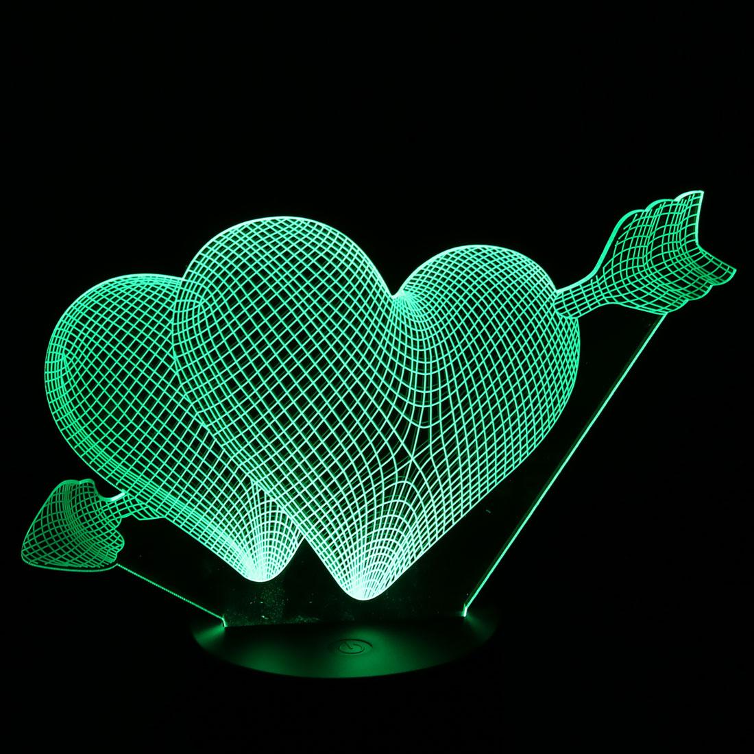 DC 5V Cupid Arrow 3D Acrylic LED Night Light 7 Color Change Desk Table Lamp - image 3 of 7