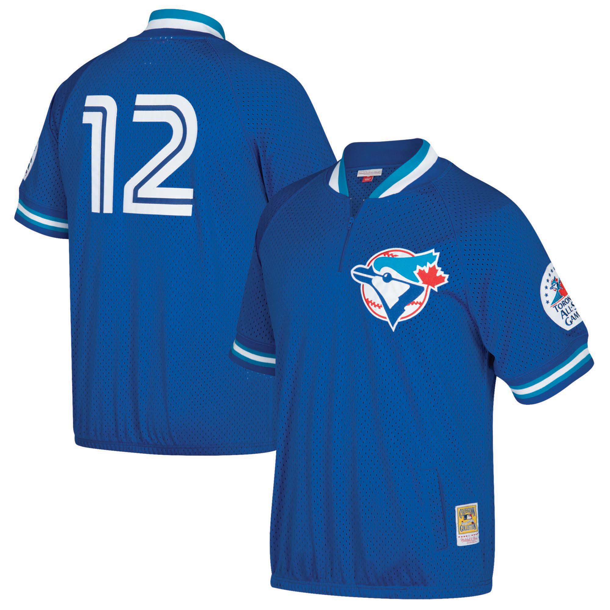 Roberto Alomar Toronto Blue Jays Mitchell & Ness Cooperstown Collection Mesh Batting Practice Quarter-Zip Jersey - Royal