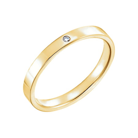 Jewels By Lux 14K Yellow Gold .02 CTW Diamond Gypsy Set Flat Comfort Fit Mens Wedding Ring Band Size (Diamond Flat Comfort Fit Ring)