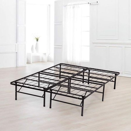 Platform Bed Frame King Folding Bed Metal Base Mattress Foundation 14 Inch Portable Black Heavy Duty Steel Replaces Box Spring